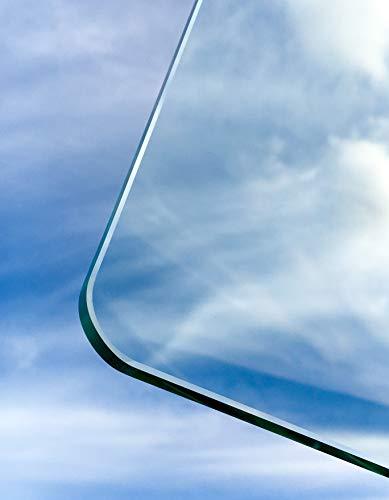 Glasplatten ESG 6mm, mit runden Ecken, klar durchsichtig. Nach Maß bis 70 x 110 cm (700 x 1100 mm), Kanten geschliffen und poliert. ESG nach DIN. Kantenstempel.