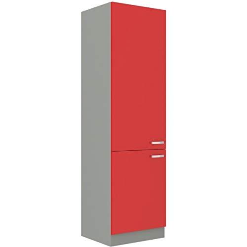 Küchen Hochschrank 60 Glanz Rot + Grau Küchenzeile Küchenblock Küche Rose Bianca