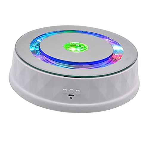 Sharplace Luces de Colores Pantalla eléctrica Mesa giratoria de Ajuste de Velocidad de joyería Mesa giratoria para Productos Digitales Carga 8 kg - Blanco