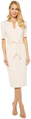Adrianna Papell Women s Knit Crepe TIE Sheath Dress Satin Blush 10 product image