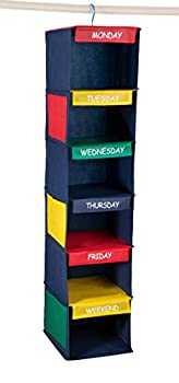 """Daily Activity Kids Closet Organizer –11"""" X 11"""" X 48""""- Prepare and Organize a Week's Worth of Your Children's Clothing Shoes and After School Activities Hangs Directly on The Closet Rod."""