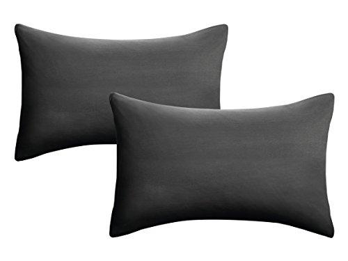 biberna 0077144 Feinjersey Bettwäsche Kopfkissenbezug (Baumwolle) 2x 40x60, schwarz
