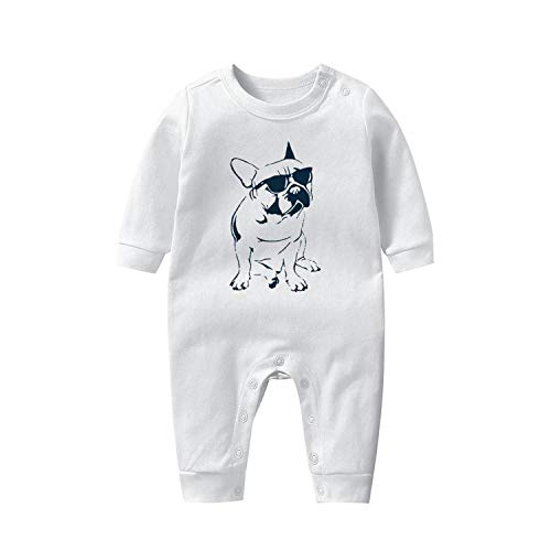 Newborn Baby Boy Romper Clothe, Frenchie French Bulldog with Sunglasses Romper Long Sleeve Jumpsuits One Piece Outfit