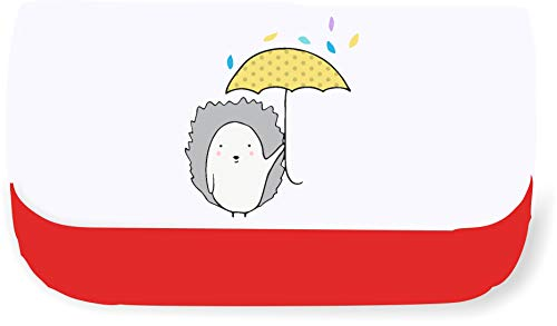 Doodle Style Hedgehog in The rain Clutch Style Pencil case - Red