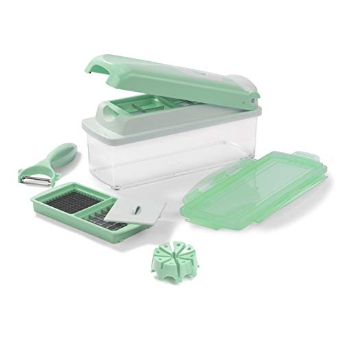 Genius Nicer Dicer Plus Multischneider Pastell-Edition (9 Teile) All-in-one Obst-und Gemüseschneider aus Edelstahl in blau - Schneiden, Würfeln, Stifteln und Aufbewahren