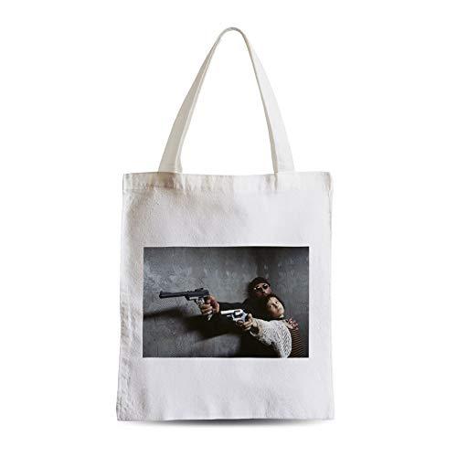 Big Canvas Tot Shopper Bag Nathalie Portman Jean Reno Leon Hitman Guns Cinema