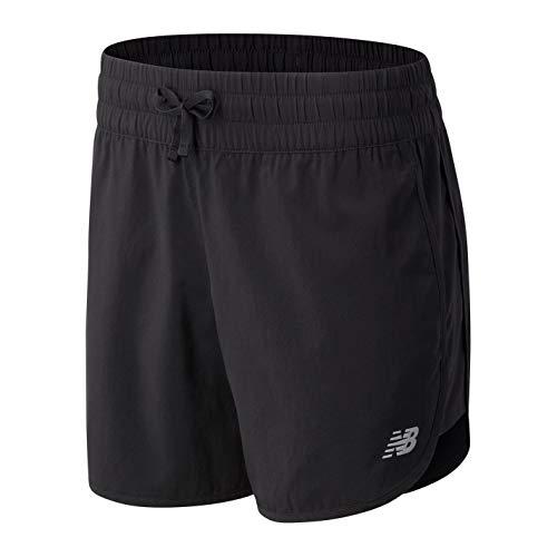 New Balance Pantalones cortos para mujer Ws11200, Pantalones cortos, WS11200, bk, XL
