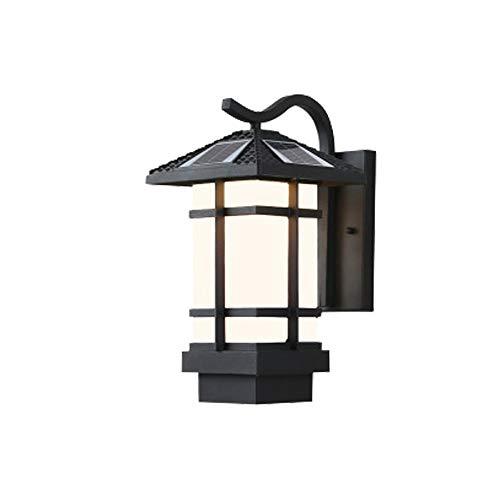 HWSUS Lámpara De Pared Lámpara De Pared Solar para Exterior Carga Automática Durante El Día Iluminación Automática por La Noche Luz Blanca Cálida Luz Conmutable Tamaño 24 * 35 cm