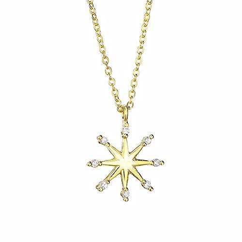 Collar Hombre Personalizado,Joyería 925 Colgante de plata Collar en forma de estrella Collar de cristal de lujo simple para mujer Color dorado