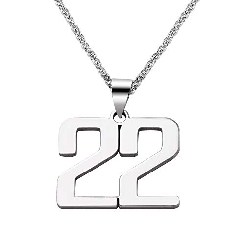 LAOFU Customized Jewelry For Men - Personalized Charm Number Necklace - Gift For Him/Her (silver)