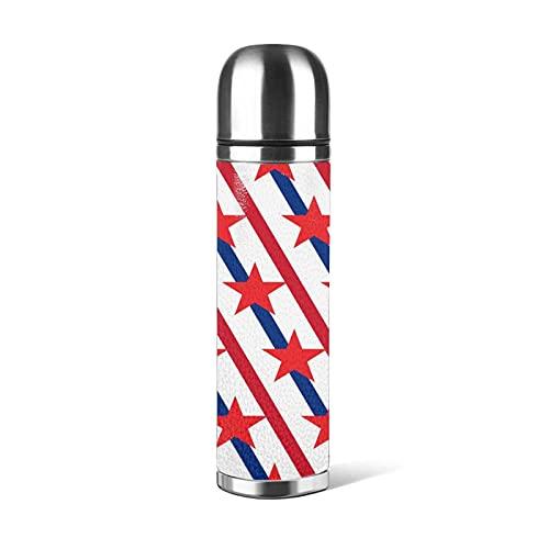 Botella de agua de 500 ml de estrellas americanas a rayas, botellas de acero inoxidable, a prueba de fugas, doble pared, mantener 24 horas frías 12 horas caliente