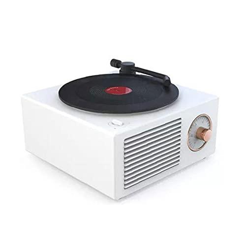 Bluetooth retro altavoz portátil inalámbrico vintage micrófono mini stereo registro jugador blanco