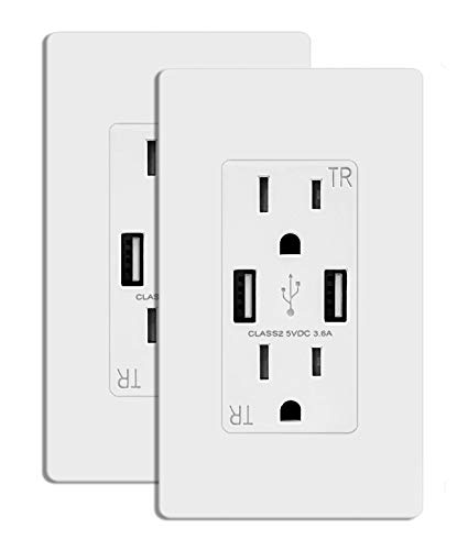 TOPELE Smart Charger USB Outlet, Duplex Dual USB Wall Outlet with 15Amp 110V/120V Tamper-Resistant Electric Receptacle, Childproof USB Outlet Plug, UL Listed, White, Pack of 2