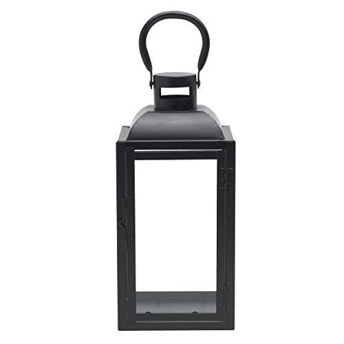 Elements Decorative Basic Metal Lantern, 12-Inch, Black