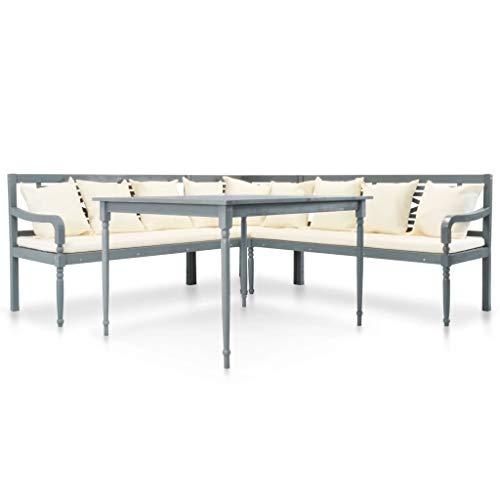 FAMIROSA Set Muebles de jardín 4 pzas Madera Maciza Acacia Gris y Blanco