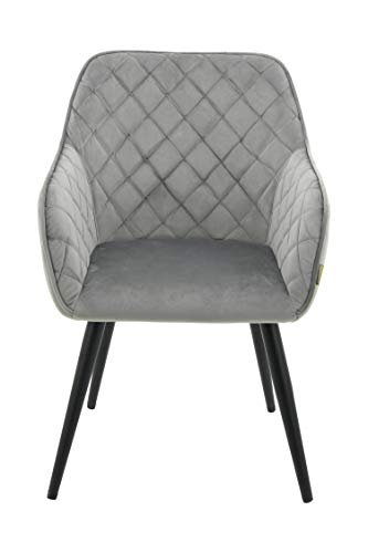 HNNHOME® Dalton - Silla de comedor tapizada con brazos y respaldo, patas de metal fuerte, sillón d