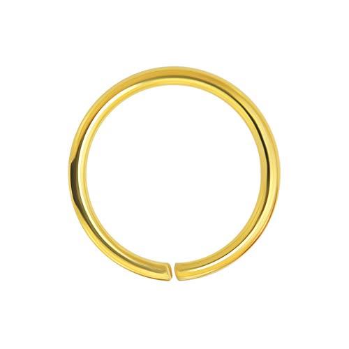 14K Solid Gelb Gold 20 Gauge - Durchmesser von 6MM Nahtlose kontinuierliche offene Hoop Nasenring Nase Piercing