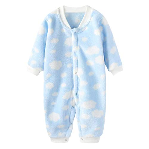 DEBAIJIA Bebé Mameluco 0-2T Recién Nacido Peleles Infantil Monos Niños Pijama Niña Ropa de Dormir Niño Camisones Franela Unisexo (Azul-73)