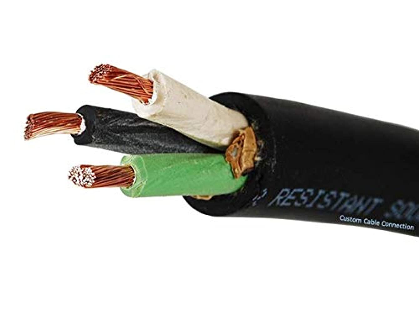 Custom Cable Connection 16/3 SOOW 16 AWG 3 Conductor 600 Volt Portable Power Cable - 25 Foot Roll in a Bag