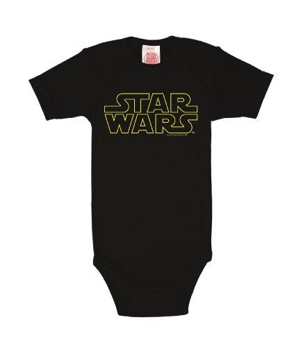 Logoshirt La Guerre des étoiles - Star Wars Logo - typographique Body pour bébé - Gigoteuse - Noir - Design Original sous Licence, Taille 98/104, 2-4 Ans