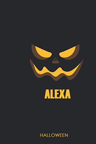 Alexa: Halloween Gifts for Kids and Adults: Funny Flying Witch and Black Cat Orange Composition Book for School Work and Home