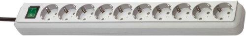 Brennenstuhl Eco-Line regleta de enchufes con 10 tomas de corriente (cable de 3 m, interruptor) gris