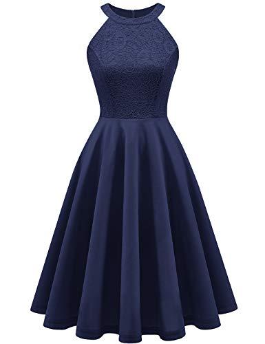 YOYAKER Damen 50er Vintage Rockabilly Kleid Neckholder Cocktailkleid Spitzen Vokuhila Festliche Party Abendkleider für Hochzeit -1Navy S