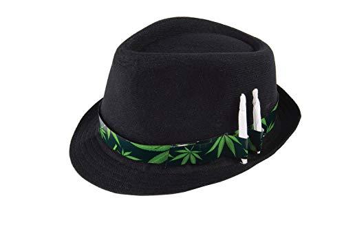 shoperama Trilby Hut Schwarz Cannabis Hutband mit Joint-Haltern Hanf Mary Jane Fedora Party JGA