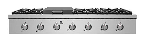 "NXR SCT4811 48"" Pro-Style Natural Gas Cooktop, Stainless Steel 3 6 German single-stack burner Featuring high power 18, 000 BTU burners for larger cookware. Simmer delicate sauces with low power 6, 000 BTU and everything in between 3 x heavy-duty flat cast-iron cooking grates to ease movement of large pots without having to lift them"