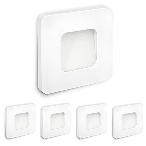 SSC-LUXon 5 pezzi LED lampada da incasso a parete DEVA 230 V 1 W bianco caldo per barattoli Ø 60 mm – Faretto a gradini bianco quadrato