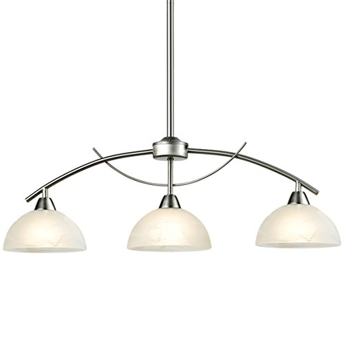 DAYCENT Modern Frosted Glass Shades Pendant Light Arched Alabaster Chandelier Kitchen Counter Island Hanging Ceiling Lighting, Brushed Nickel, 3-Light