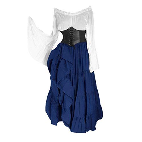 Damen Trompetenärmel Kleid - Trägerlose Schulter Lace-up Mittelalterliche Kleid Retro Renaissance Cosplay Maxikleid Party Kostüm Maxikleid S-5XL