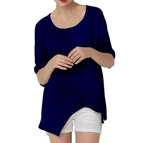 Camiseta de Lino para Mujer Camiseta de Manga Corta de Color sólido Top Casual tee Tops Blusas de Lino Top Elegante Larga Suelta Tops de Verano Camiseta Casual de Cuello Redondo Blusa Top de algodón