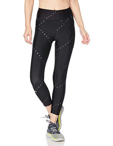 Under Armour Heatgear Armour - Pantalón Corto Estampado en el Tobillo para Mujer, Mujer, Pantalones Pirata, 1353296, Negro (003)/Plateado metálico, XS