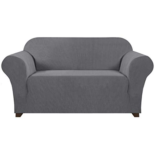 Stretch Sofa Slipcover 1 Piece Sofa Cover for 2 Cushion Couch Furniture Protector/Cover Couch with Elastic Bottom Soft and Durable Sofa Cover Pet Protector (Loveseat, Gray)