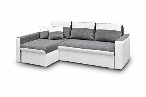 mb-moebel Ecksofa Sofa Eckcouch Couch mit Schlaffunktion und Zwei Bettkasten Ottomane L-Form Schlafsofa Bettsofa Polstergarnitur - Berlin (Ecksofa Links,...