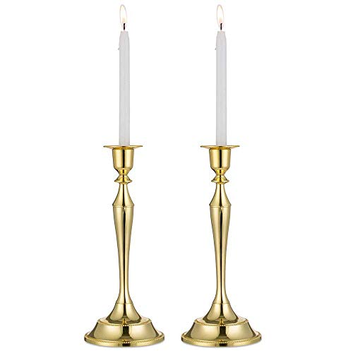MKOIJN Set of 2 Candlestick Holder for Taper Candles for Vintage Modern Home Tabletop Wedding Centerpiece Decoration (L, Gold)