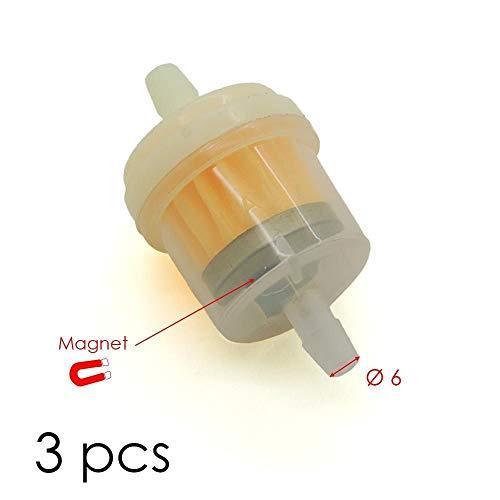 Lotto di 3 filtri carburante magnetici,  6 mm, per kart, moto e scooter, con calamita.