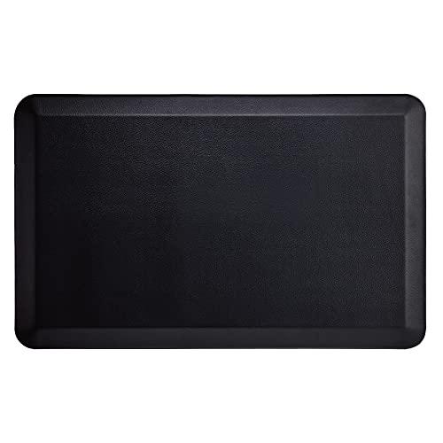 Bedsure Anti Fatigue Kitchen Mat - Kitchen Mat Cushioned Anti Fatigue, Kitchen Floor Mats Cushioned, Non Slip Waterproof Mat Standing Desk, 20x32x3/4th inches, Black