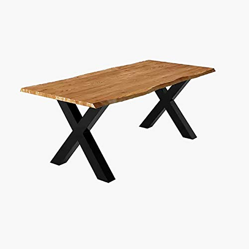 Dining Table with X-Shaped Iron Legs - Rustic Dining Table with Wood Top - Transparent