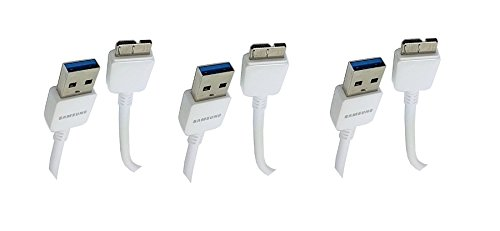 3 Pack Samsung Micro-USB 3.0 Data Cable for Galaxy S5 and Note 3 N9000 - Non-Retail Packaging - White