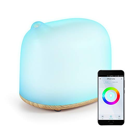 YHW Smart WiFi Essential Oil Diffuser & Table Lamp, 300 mL Humidifier, Alexa/Google/App Control, RGB Ambient Night Light, Off Timer, Scheduling, Auto Shut-Off, Light Wood Color