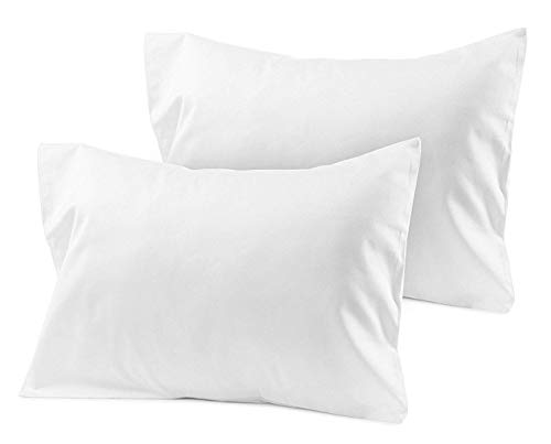 Travel Pillow Case 14x20 Set of 2 White Solid Envelope Style 500 Thread Count Toddler Pillowcase 100% Egyptian Cotton Travel Pillow Cover