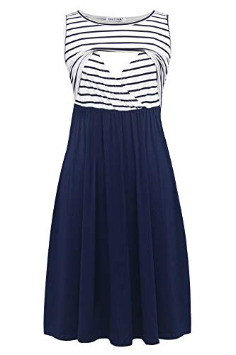 Smallshow Women's Sleeveless Patchwork Maternity Nursing Dress with Pockets Medium Blue Stripe
