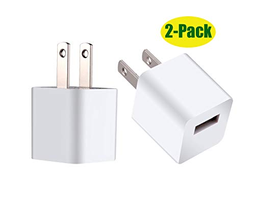 ZLONXUN Wall Charger Cube Power Adapter Plug USB Charging Block for All iPhones,iPad Mini 2/3/4,iPod Touch(2 Pack)