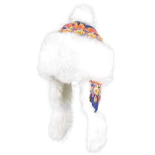 SJJL Hut, Plüsch Hut, Herbst und Winter Hut weibliche Strickmütze Ohrenschützer Wollhut mongolischen Hut Wintermütze (Farbe : D)