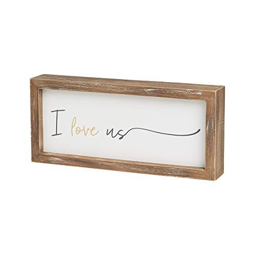 Collins Painting 'I Love Us' 木製フレームブロックサイン 9インチ