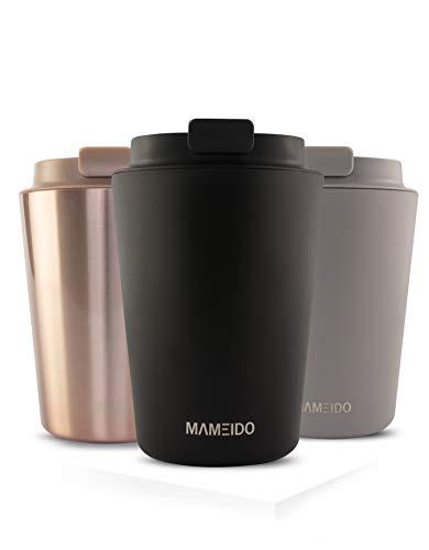 MAMEIDO Thermobecher Edelstahl isoliert 350ml Rich Black - Kaffeebecher to go, auslaufsicher, Coffee to go Becher