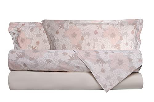 Completo letto lenzuola in 100% puro cotone percalle Made in Italy MATRIMONIALE FIORI BEIGE