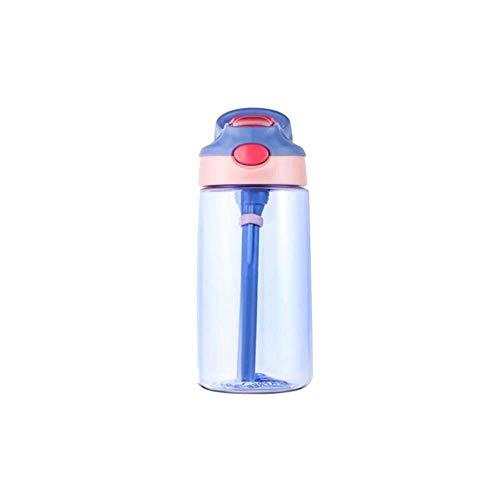 Wasserflaschen Student tragbares Kunststoff Cup Schule Trinkwasser Stroh Flasche Stroh Saugleitung Handwasser-Cup 480ml wasserflasche (Color : PURPLE)